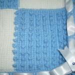 tunus işi mavi beyaz bebek battaniyesi