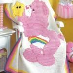 tunus işi pembe ayılı bebek battaniyesi