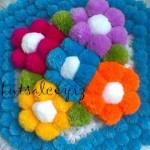 üç boyutlu çiçekli ponponlu kasnak lif
