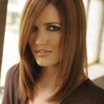 açık kestane düz uzun saç modeli