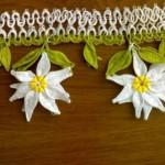 beyaz zambaklı mekik oyası havlu kenarı