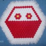 kırmızı beyaz çiçek sepetli ponponlu kasnak lif