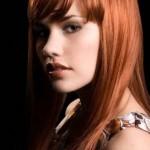 kızıl kestane kaküllü uzun düz saç
