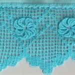 kabarık çiçekli mavi çarşaf danteli