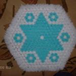 mavi beyaz yıldızlı çiçekli kasnak lif