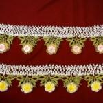 sarı çiçekli mekik oyası havlu kenarı