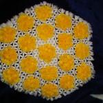 sarı beyaz ponponlu çiçekli kasnak lif
