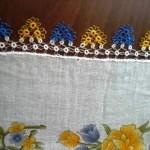 sarı mavi mekik oyası tülbent modeli