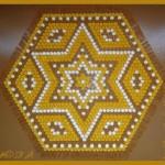 yıldız desenli sarı kahve ponponlu kasnak lif