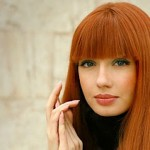 bakır kızılı düz kaküllü saç modeli
