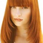 bakır kızılı kaküllü uzun düz saç modeli