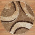 bej kahve geometrik desenli yuvarlak halı