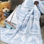 gemi desenli mavi beyaz bebek battaniyesi