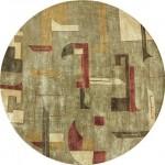 geometrik desenli gri yuvarlak halı