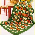 köpek desenli turuncu yeşil bebek battaniyesi