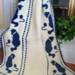 kedi desenli mavi beyaz bebek battaniyesi