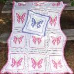kelebek desenli pembe beyaz bebek battaniyesi