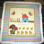 manzara desenli bebek battaniyesi
