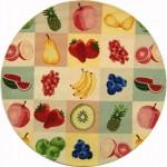 meyve desenli yuvarlak halı