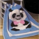 panda resmli tığ işi bebek battaniyesi