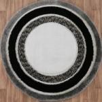 siyah beyaz gri daire desenli yuvarlak halı