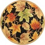 sonbahar yaprağı desenli yuvarlak halı