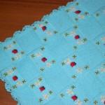 uğur böcekli mavi bebek battaniyesi