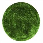 uzun tüylü yeşil yuvarlak halı