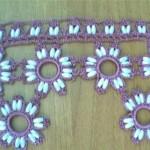 boru boncuklu lila halkalı oya