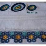 halkalı nazar boncuğu işlemeli havlu modeli