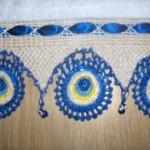 kurdeleli nazar boncuğu motifli havlu keranrı
