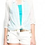 mango kareli beyaz spor kesim şifon bluz