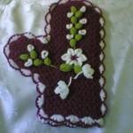 mor beyaz çiçek işlemeli eldiven lif