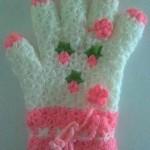 pembe beyaz çiçekli yüzüklü eldiven lif