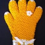 sarı beyaz boncuklu eldiven lif