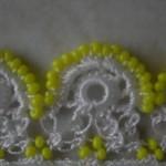 sarı boncuklu halkalı oya