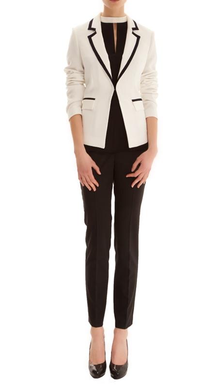siyah biyeli beyaz ceket cigarette siyah pantolon